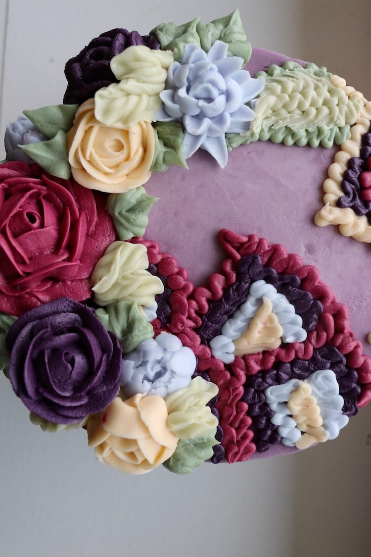 Floral Cake in Plum | 3 Sweet Girls Cakery