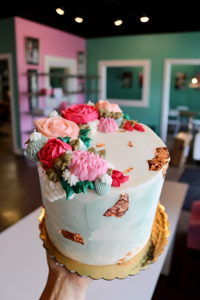 Floral Cake with Rose Gold Foil | 3 Sweet Girls Cakery
