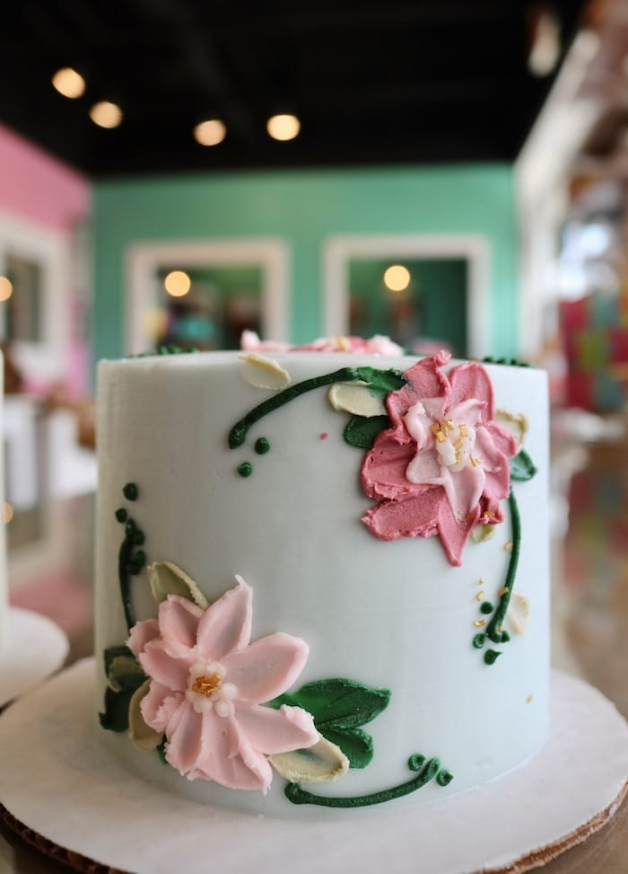 Floral Mini Cake Green and Pink   3 Sweet Girls Cakery