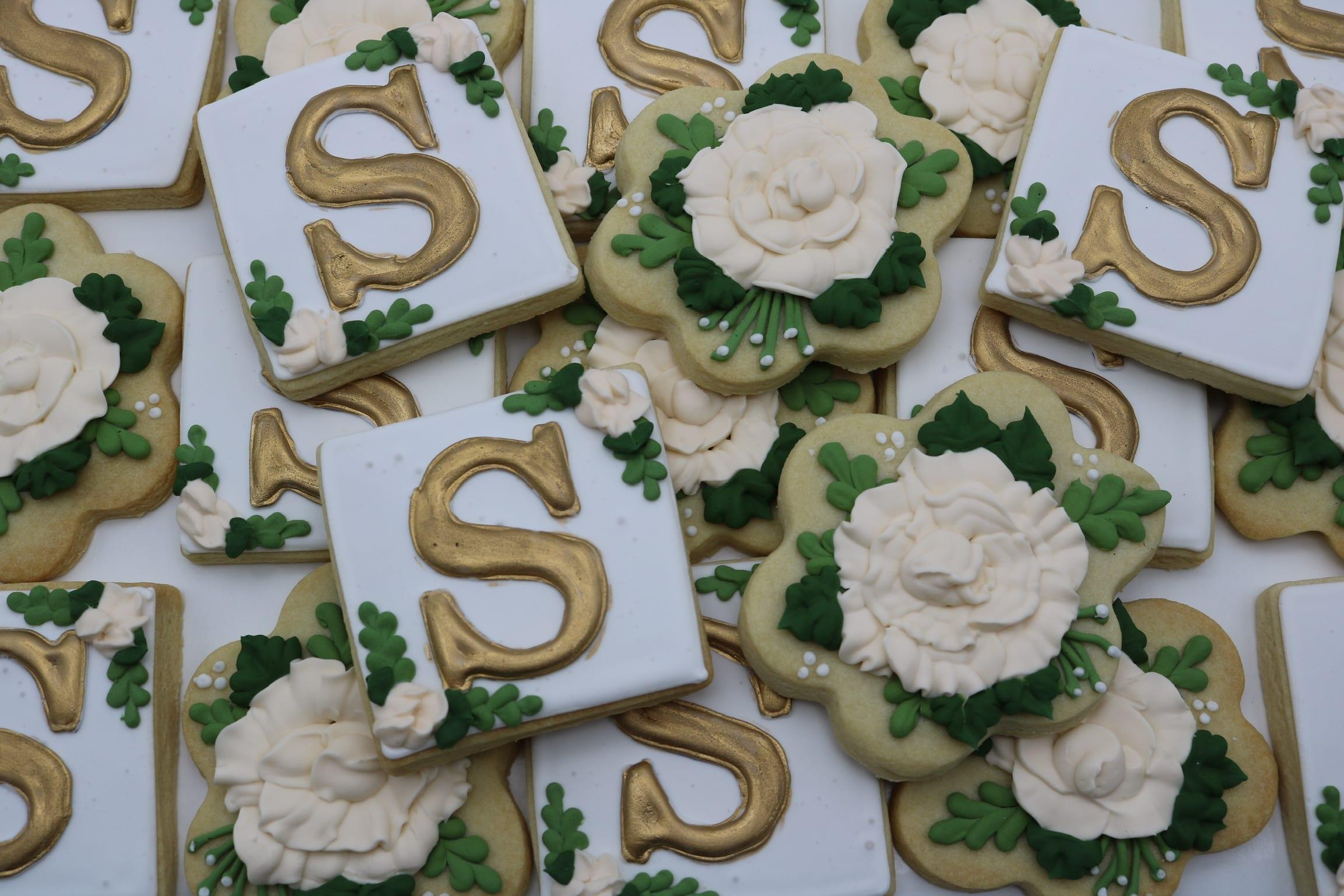 Floral Monogram Wedding Shower Cookies | 3 Sweet Girls Cakery