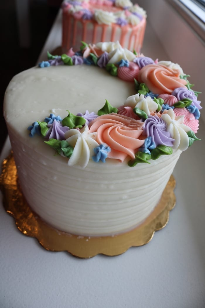 Floral Textured Buttercream Cake | 3 Sweet Girls Cakery