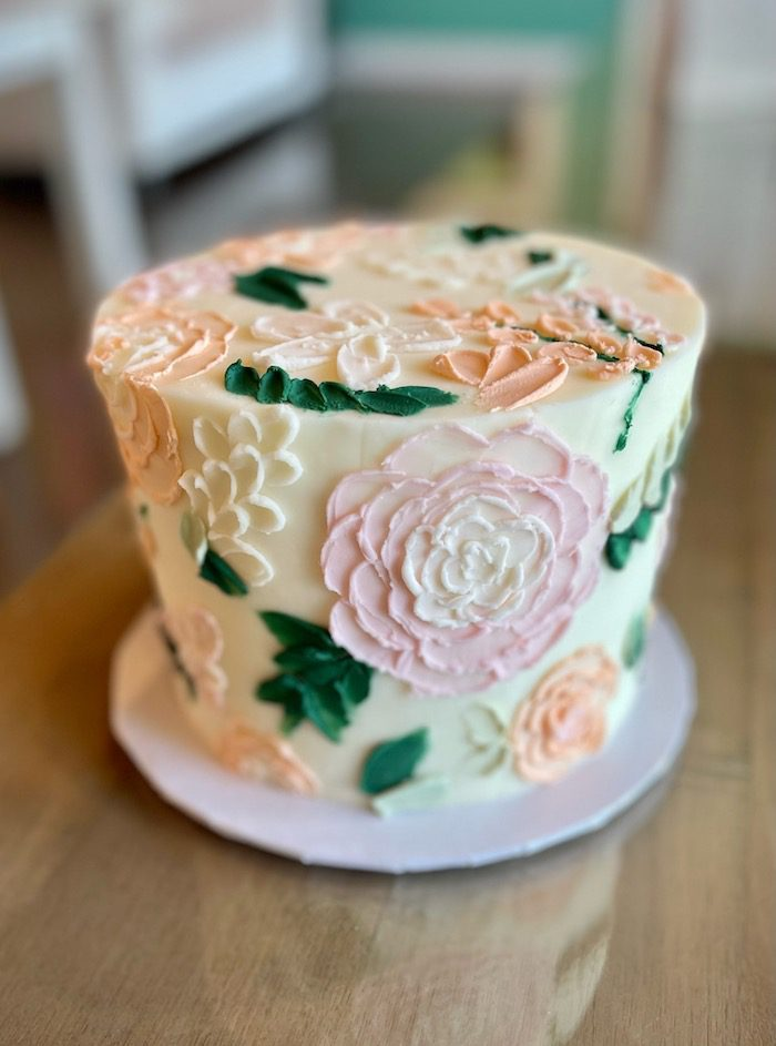 Floral Textured Cake Peach and Blush | 3 Sweet Girls Cakery