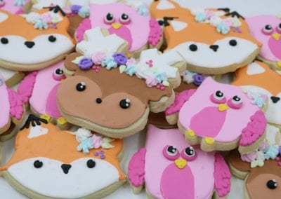 Floral Woodland Animal Cookies | 3 Sweet Girls Cakery