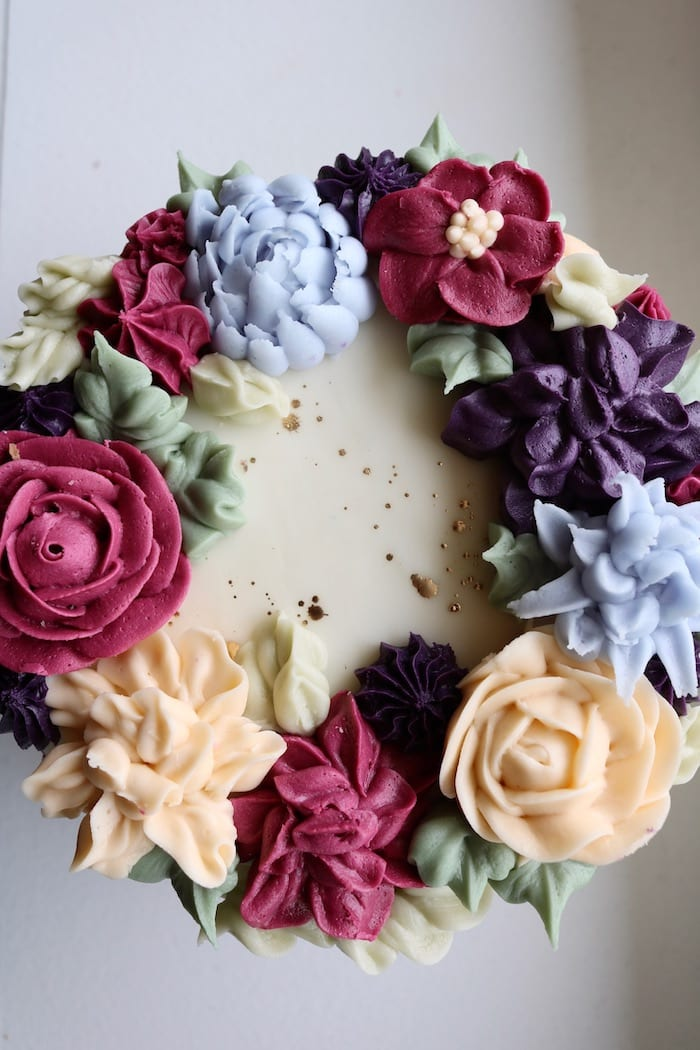 Fuscia, Purple and Blue Floral Cake | 3 Sweet Girls Cakery