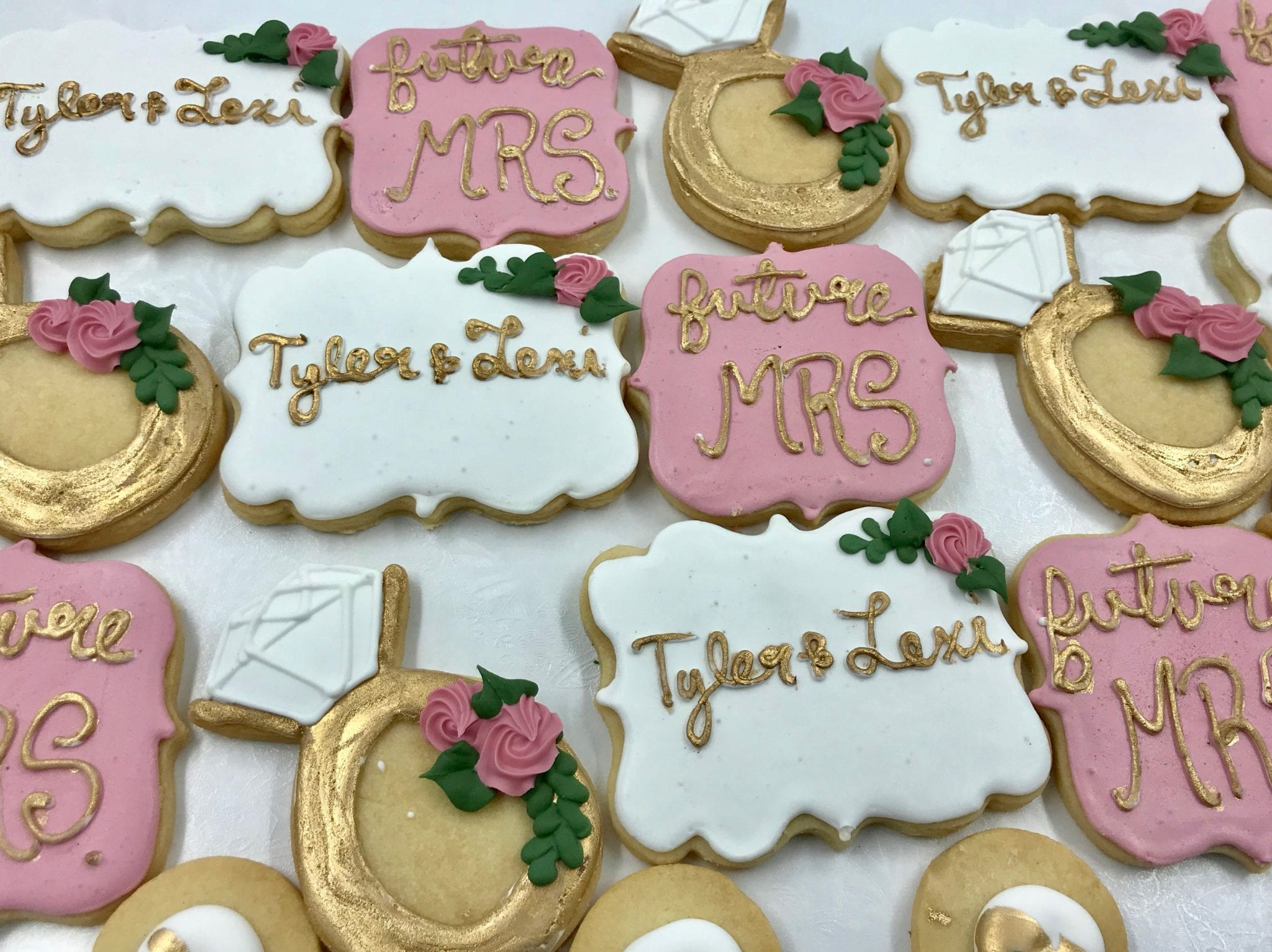 Future Mrs Shower Cookies Pink and Gold | 3 Sweet Girls Cakery