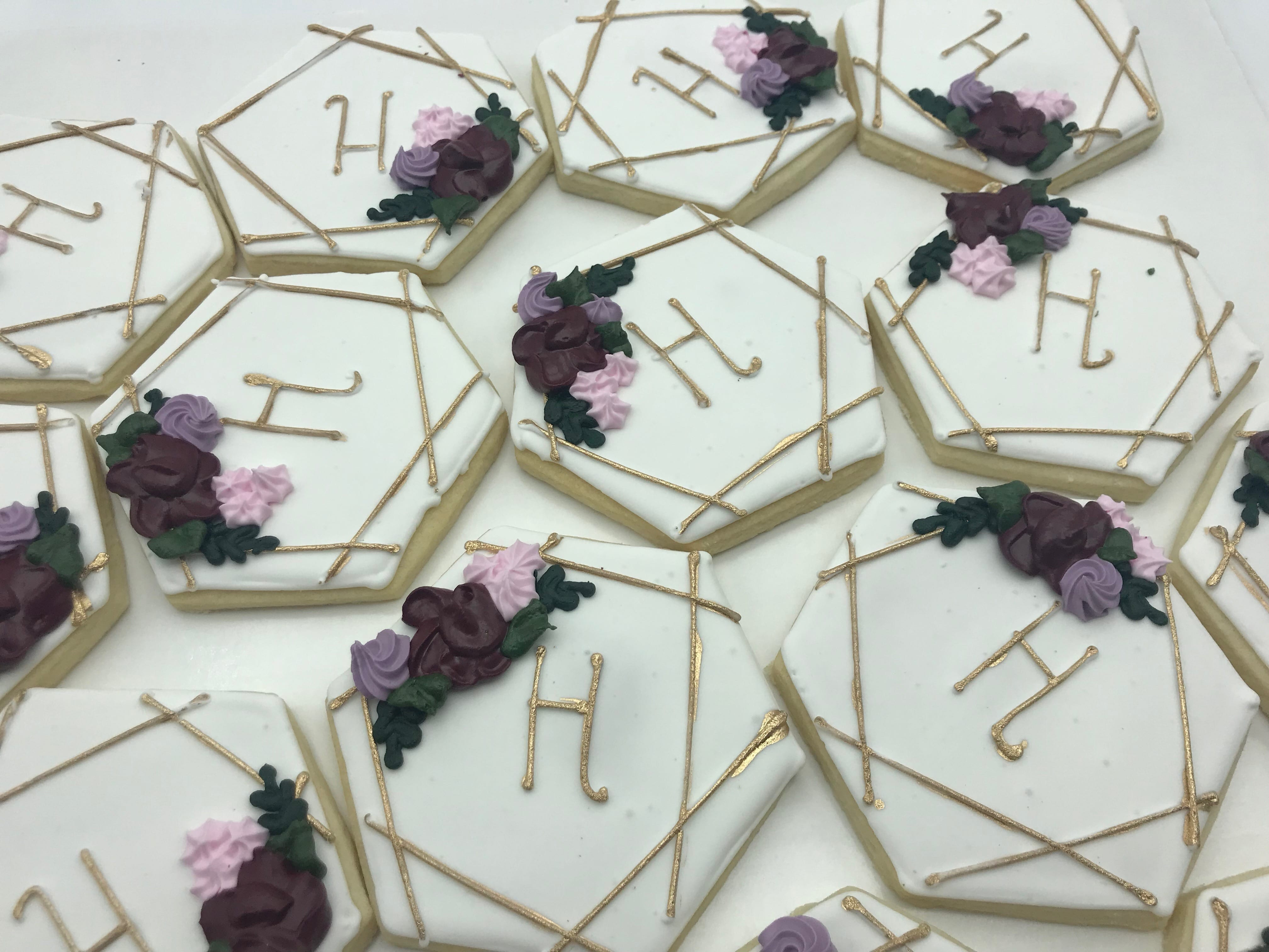 Geometric Monogram Cookies with Gold Accents and Plum Flowers | 3 Sweet Girls Cakery