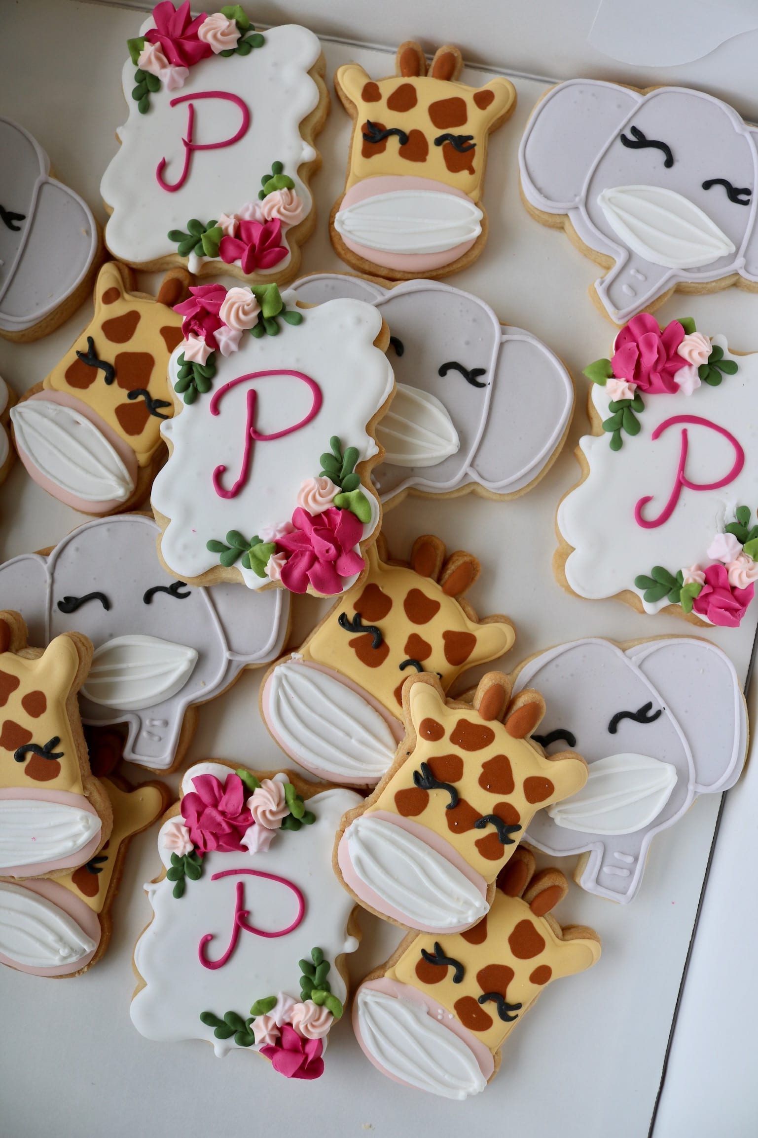 Giraffe and Elephant Cookies with Masks for Baby SHower | 3 Sweet Girls Cakery