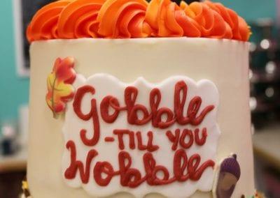Gobble TIl YOu Wobble Thanksgiving Cake | 3 Sweet Girls Cakery