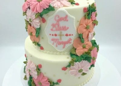 God Bless Peach and Pink Floral Baptism Cake | 3 Sweet Girls Cakery