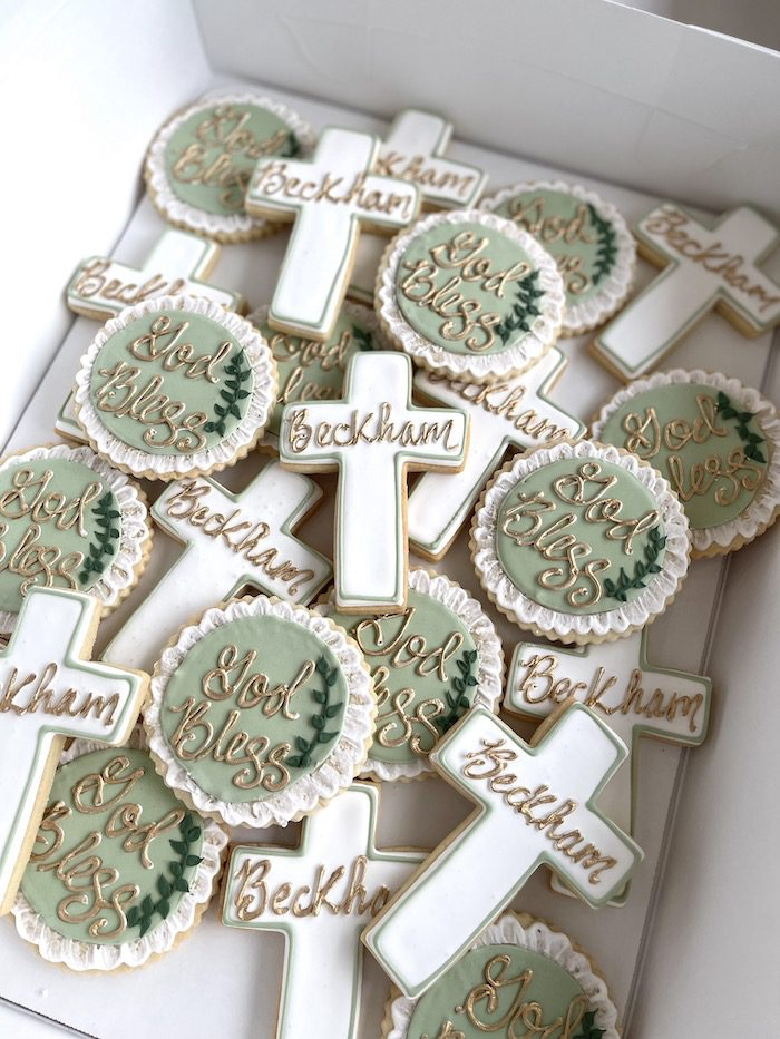 God Bless Sage and Gold Baptism Cookies   3 Sweet Girls Cakery