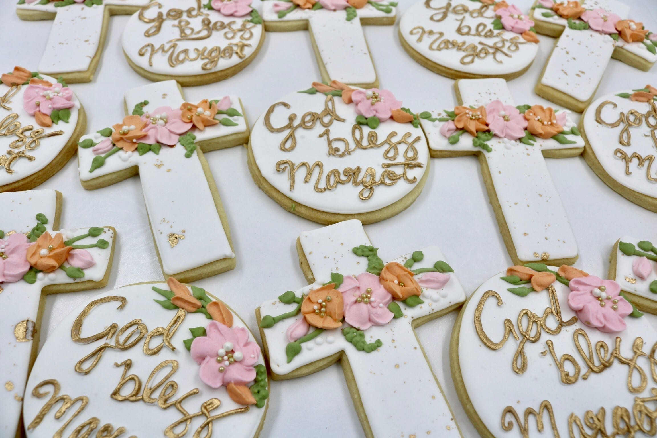 Gold, Pink and Coral Cross and God Bless Cookies | 3 Sweet Girls Cakery