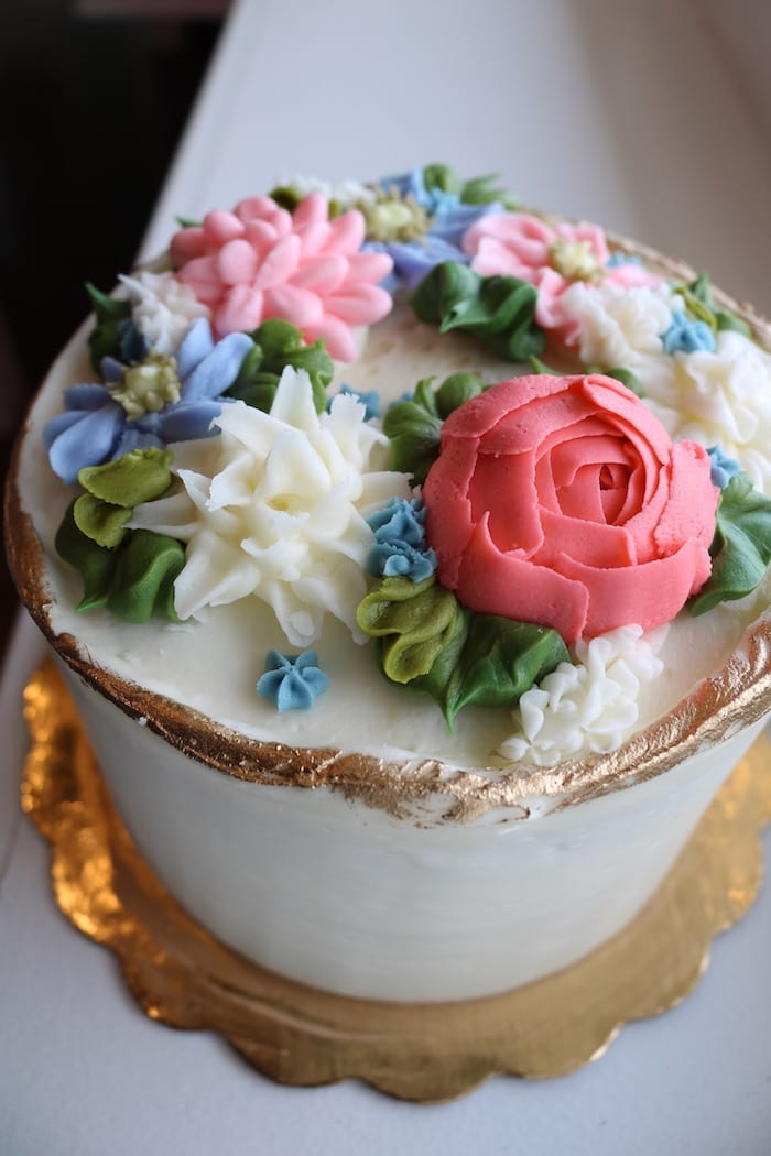 Gold Rimmed Pastel Floral Cake | 3 Sweet Girls Cakery