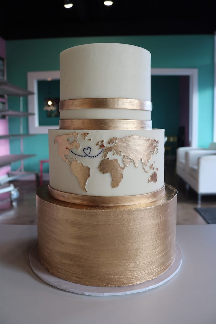 Gold and WHite Wedding Cake with Maps | 3 Sweet Girls Cakery