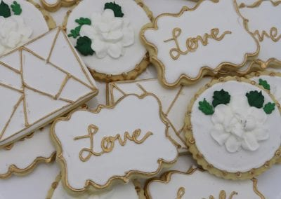 Gold and WHite Wedding Cookies with Geometric Shapes | 3 Sweet Girls Cakery