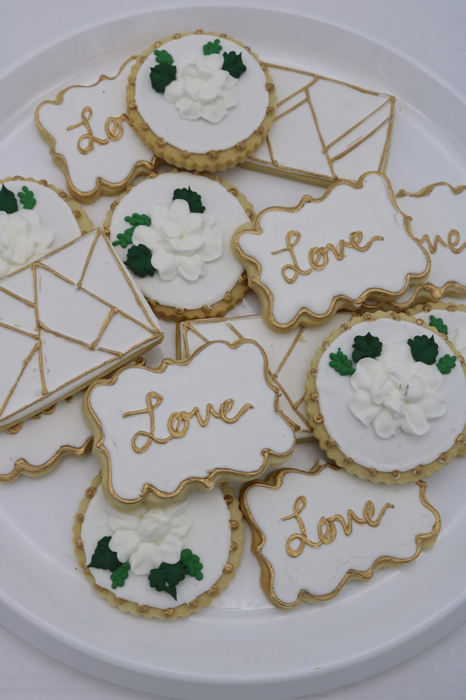 Gold and WHite Wedding Cookies with Geometric Shapes   3 Sweet Girls Cakery