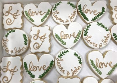 Gold and White Cookies with Greenery for Bridal Shower | 3 Sweet Girls Cakery
