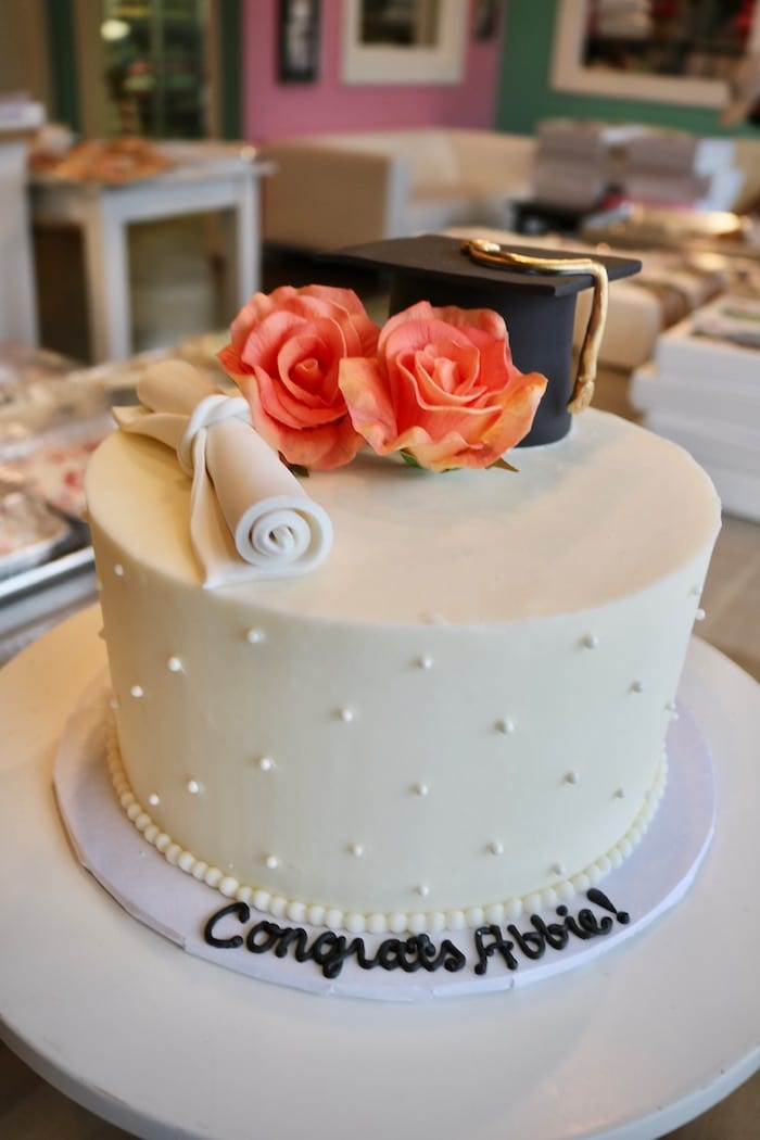 Graduation Cake with Coral Roses | 3 Sweet Girls Cakery
