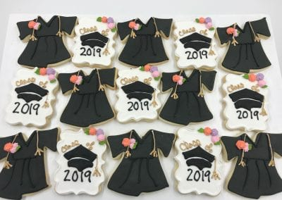 Graduation Gown and Cap Cookies | 3 Sweet Girls Cakery