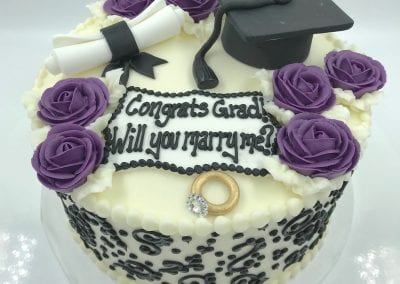 Graduation and Will You Marry Me Cake | 3 Sweet Girls Cakery