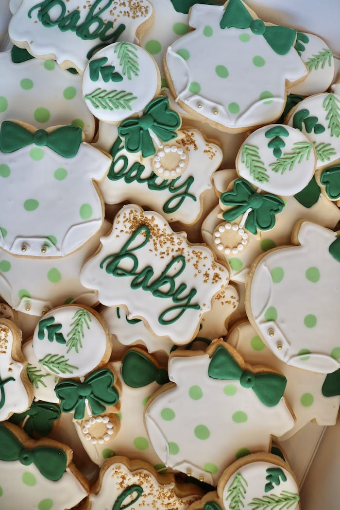 Green, White and Gold Baby Shower Cookies | 3 Sweet Girls Cakery