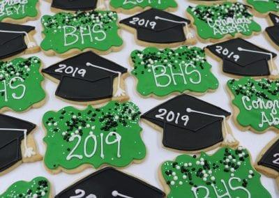 Green and Black Graduation Cookies | 3 Sweet Girls Cakery