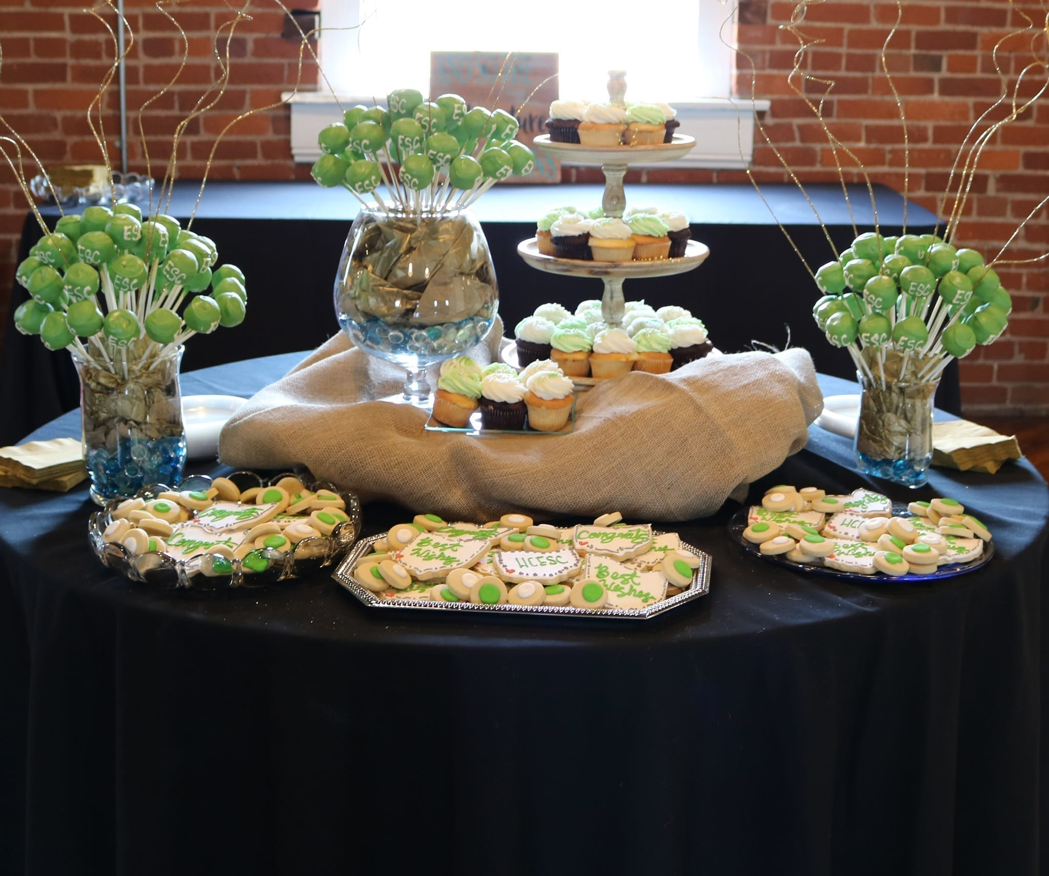 Green and White Corporate Dessert Table | 3 Sweet Girls Cakery