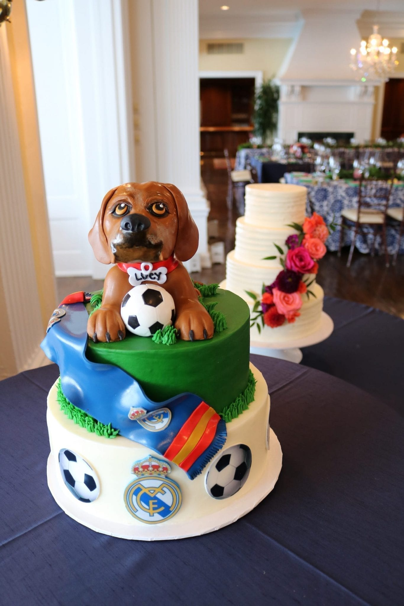 Groom's Cake with Dog and Soccer Theme | 3 Sweet Girls Cakery