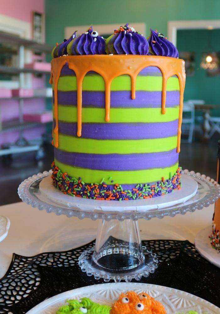 Halloween Striped Drip Cake | 3 Sweet Girls Cakery