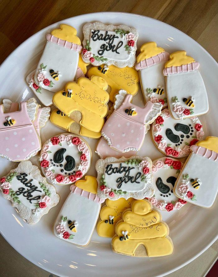 Honey Bee Themed Baby Shower Cookies   3 Sweet Girls Cakery