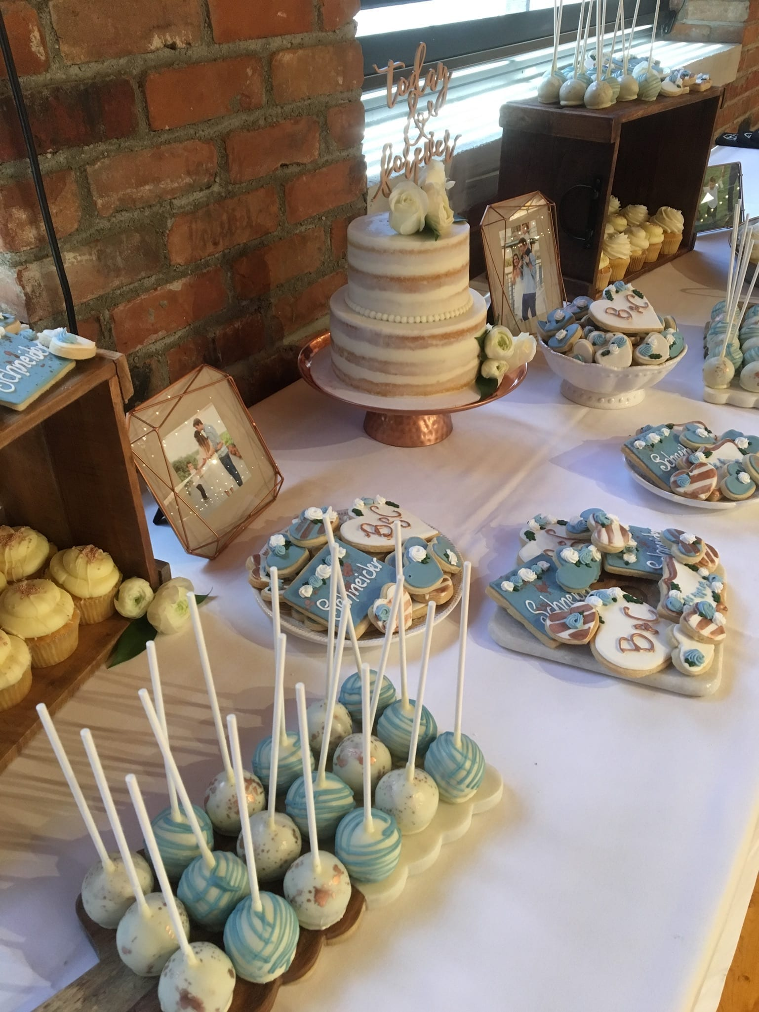 Dusty Blue and Rose Gold Wedding Dessert Table with Naked Cake | 3 Sweet Girls Cakery
