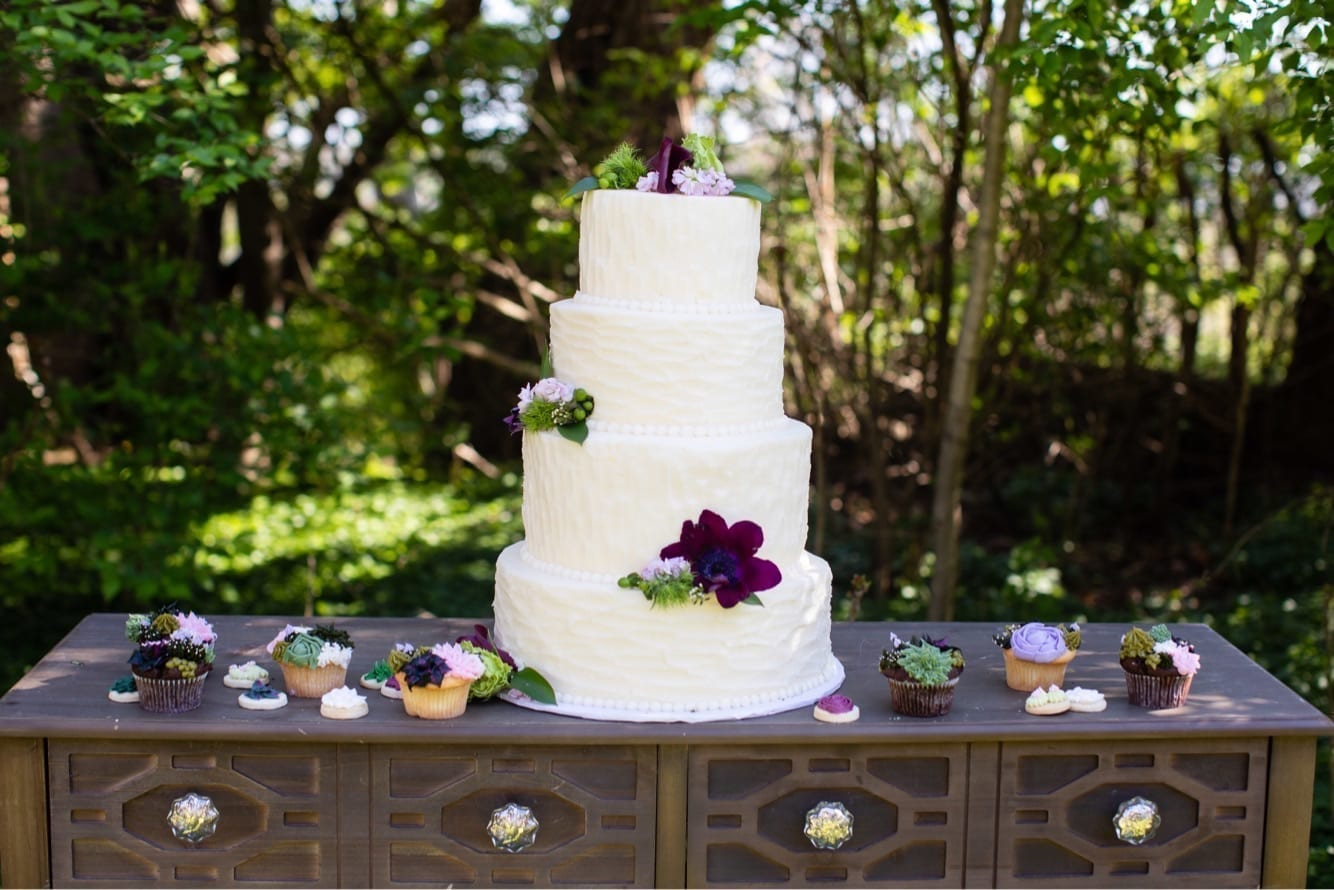 Textured Buttercream Wedding Cake with Succulent Cupcakes | 3 Sweet Girls Cakery