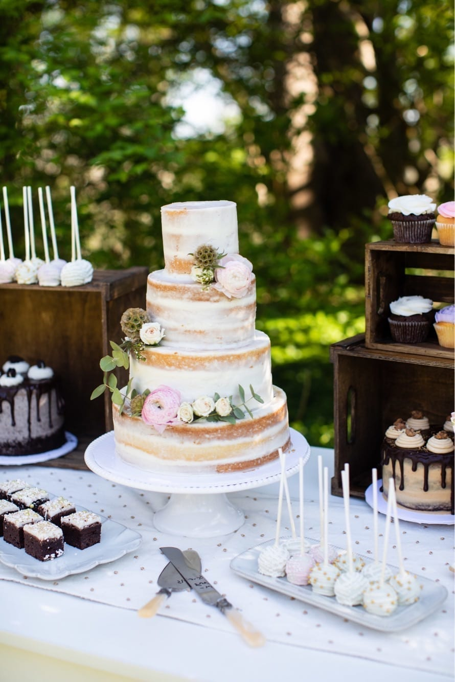 Naked Wedding Cake Dessert Table | 3 Sweet Girls Cakery