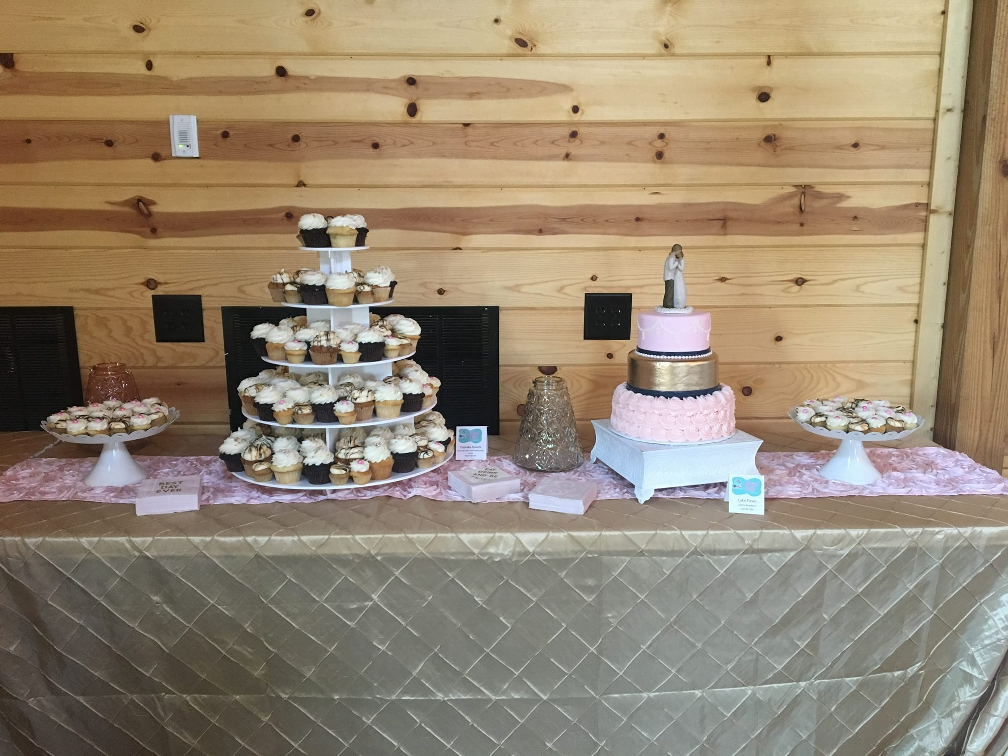 Pink and Gold Wedding Cake with Assorted Desserts | 3 Sweet Girls Cakery
