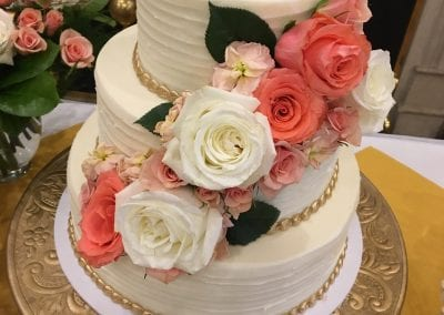 Textured Buttercream Wedding Cake with Gold Bead Border and Fresh Flowers | 3 Sweet Girls Cakery
