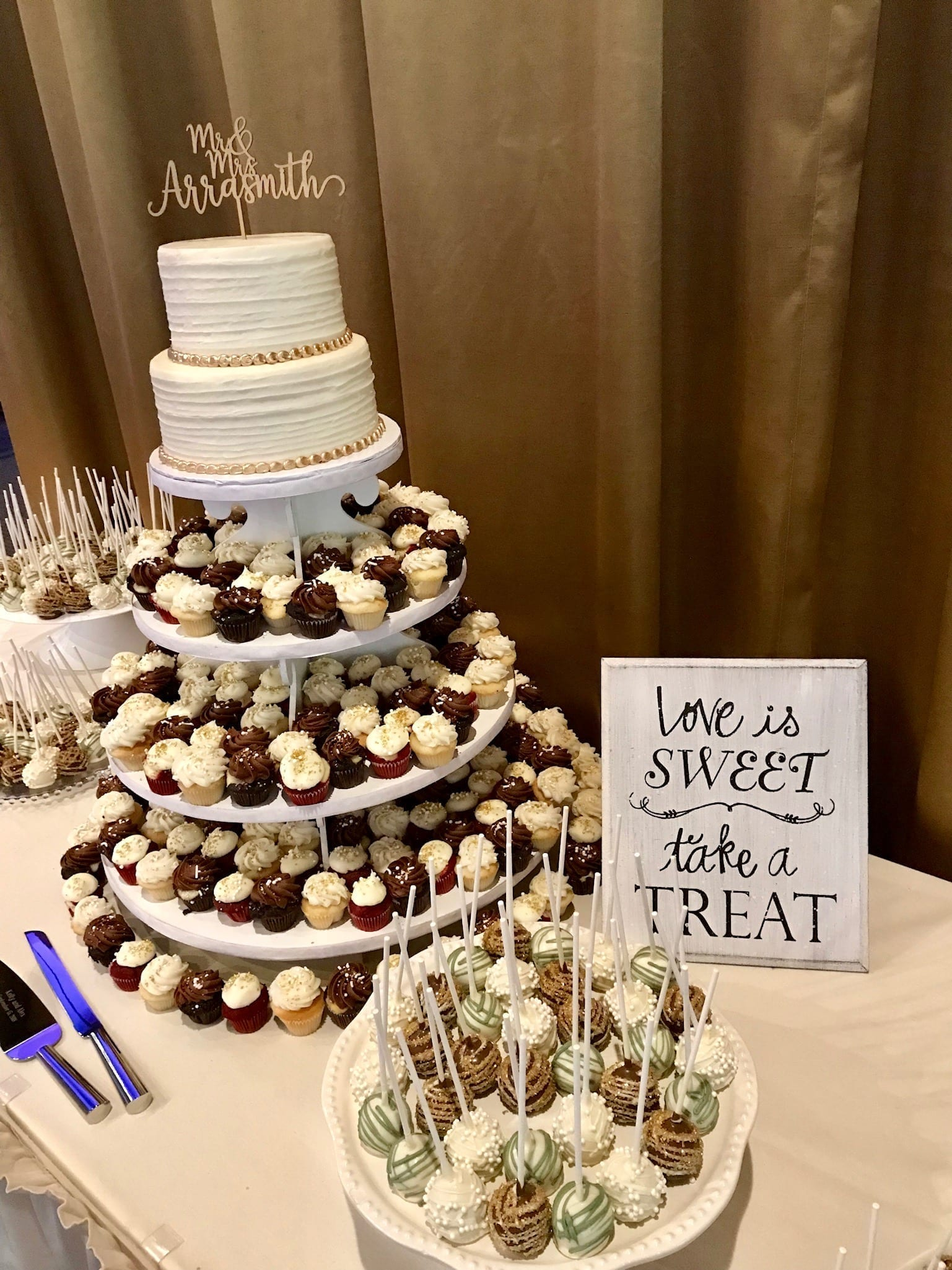 Wedding Dessert Table with Mini Cupcakes, Cake Pops and a 2 Tier Cake | 3 Sweet Girls Cakery