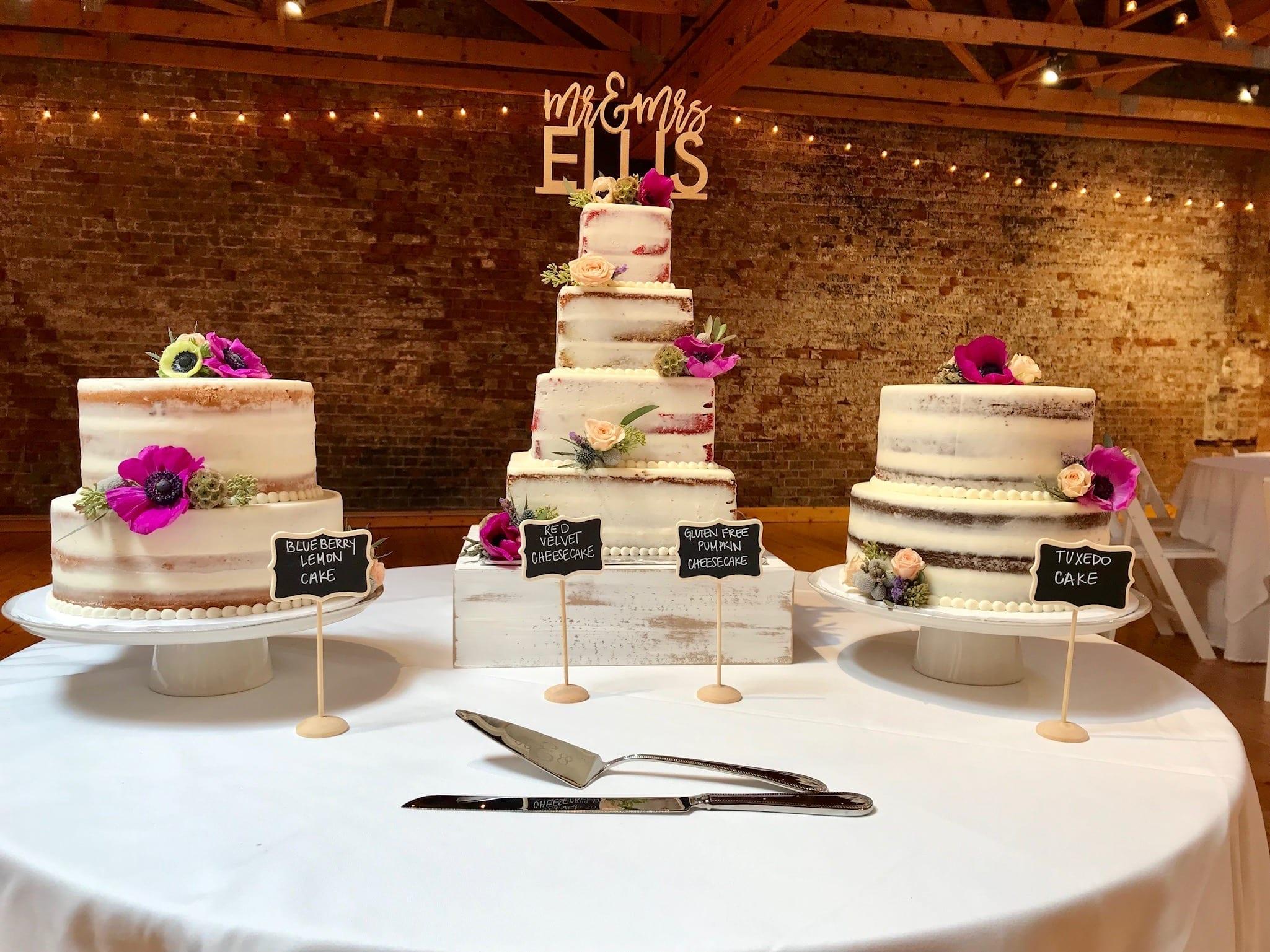 Naked Wedding Cakes at Rhinegeist Wedding | 3 Sweet Girls Cakery