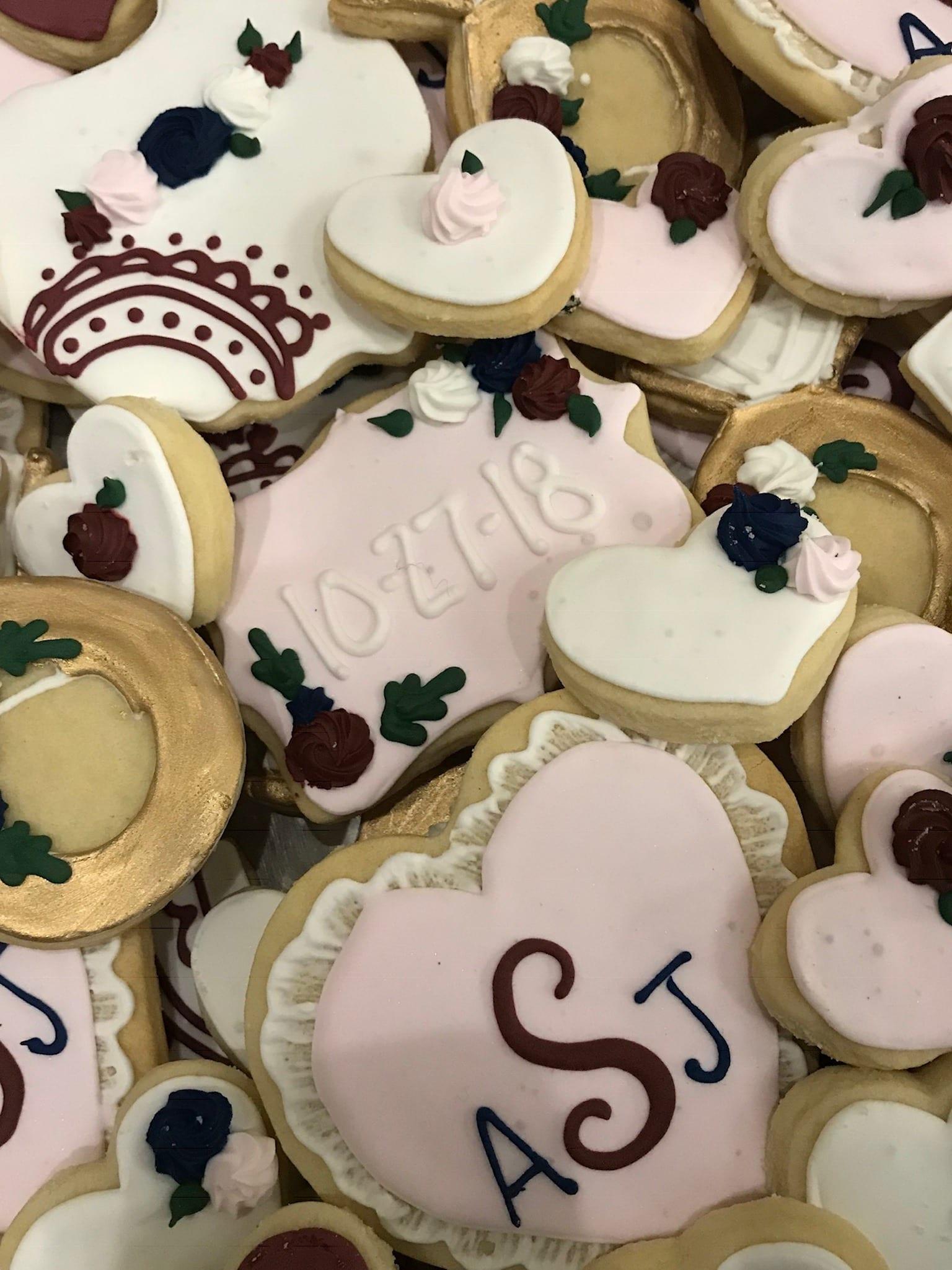 Monogram and Dated Wedding Cookies   3 Sweet Girls Cakery