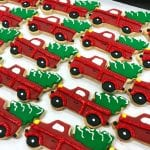 Vintage Red Truck with Christmas Tree in Back Cookies