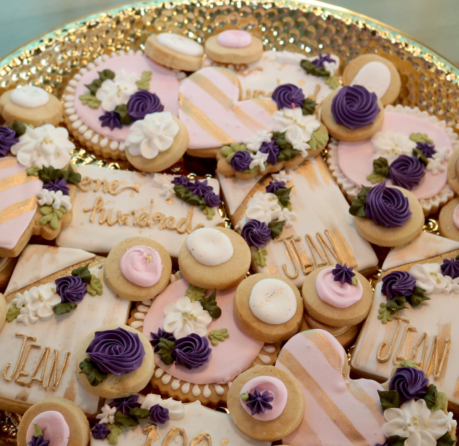 Blush, Purple and Gold Birthday Cookies for Woman | 3 Sweet Girls Cakery
