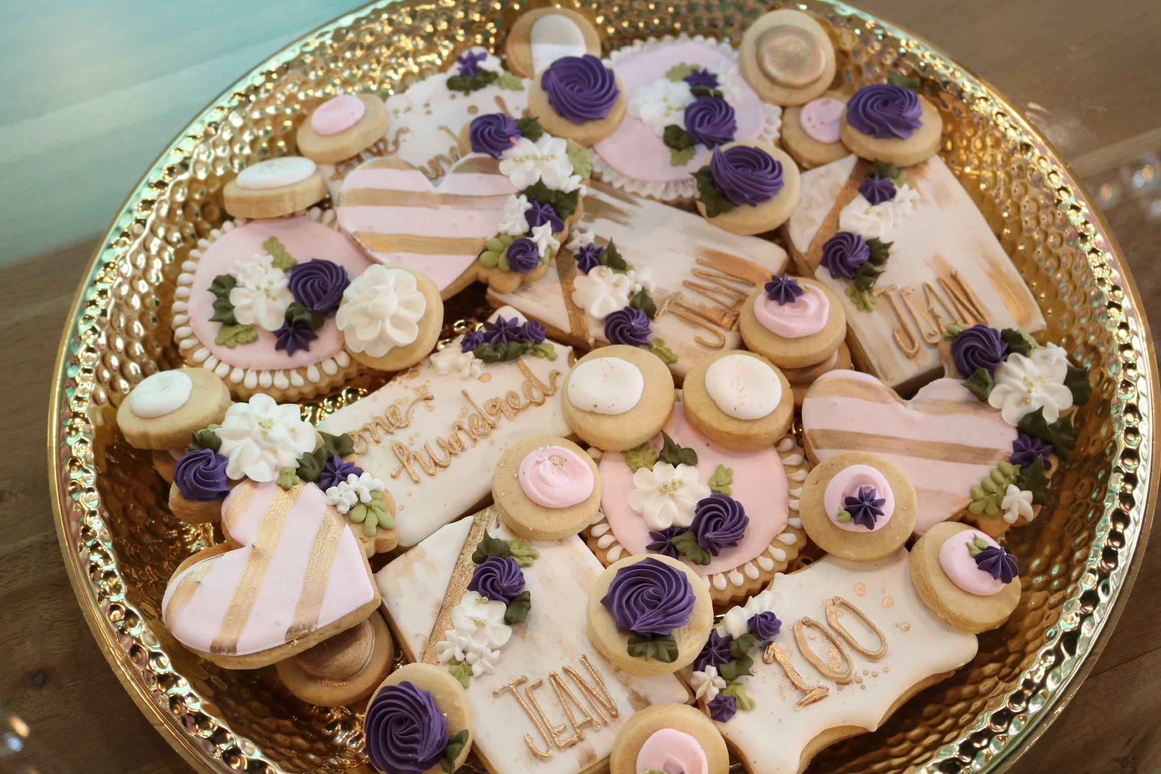 Classy Purple, Pink and Gold 100th Birthday Cookies | 3 Sweet Girls Cakery
