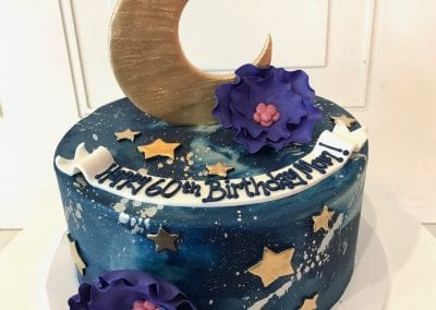 Navy Stars and Moon Birthday Cake with Gold | 3 Sweet Girls Cakery
