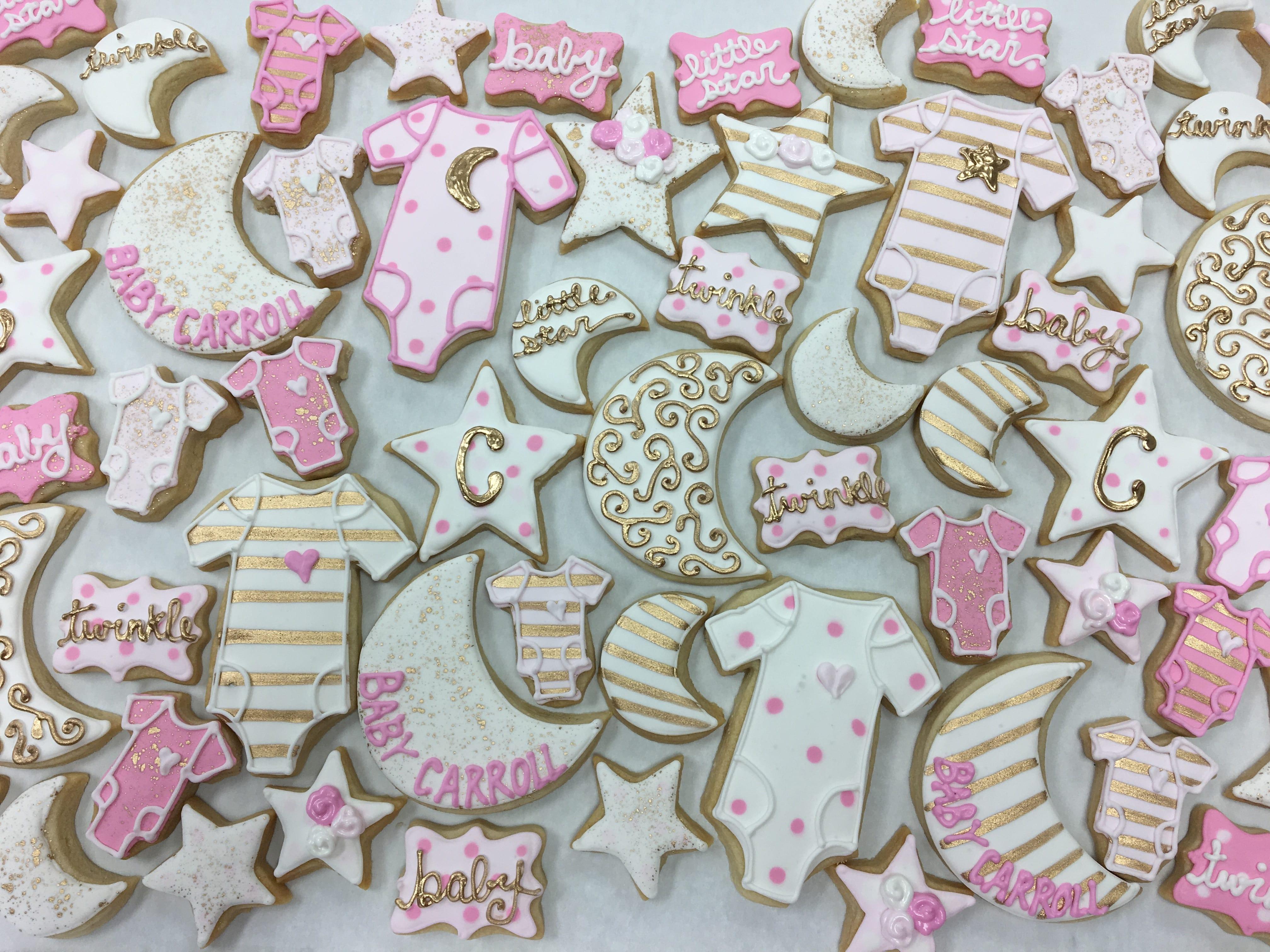 Twinkle Twinkle Little Star Baby Girl Shower Cookies | 3 Sweet Girls Cakery