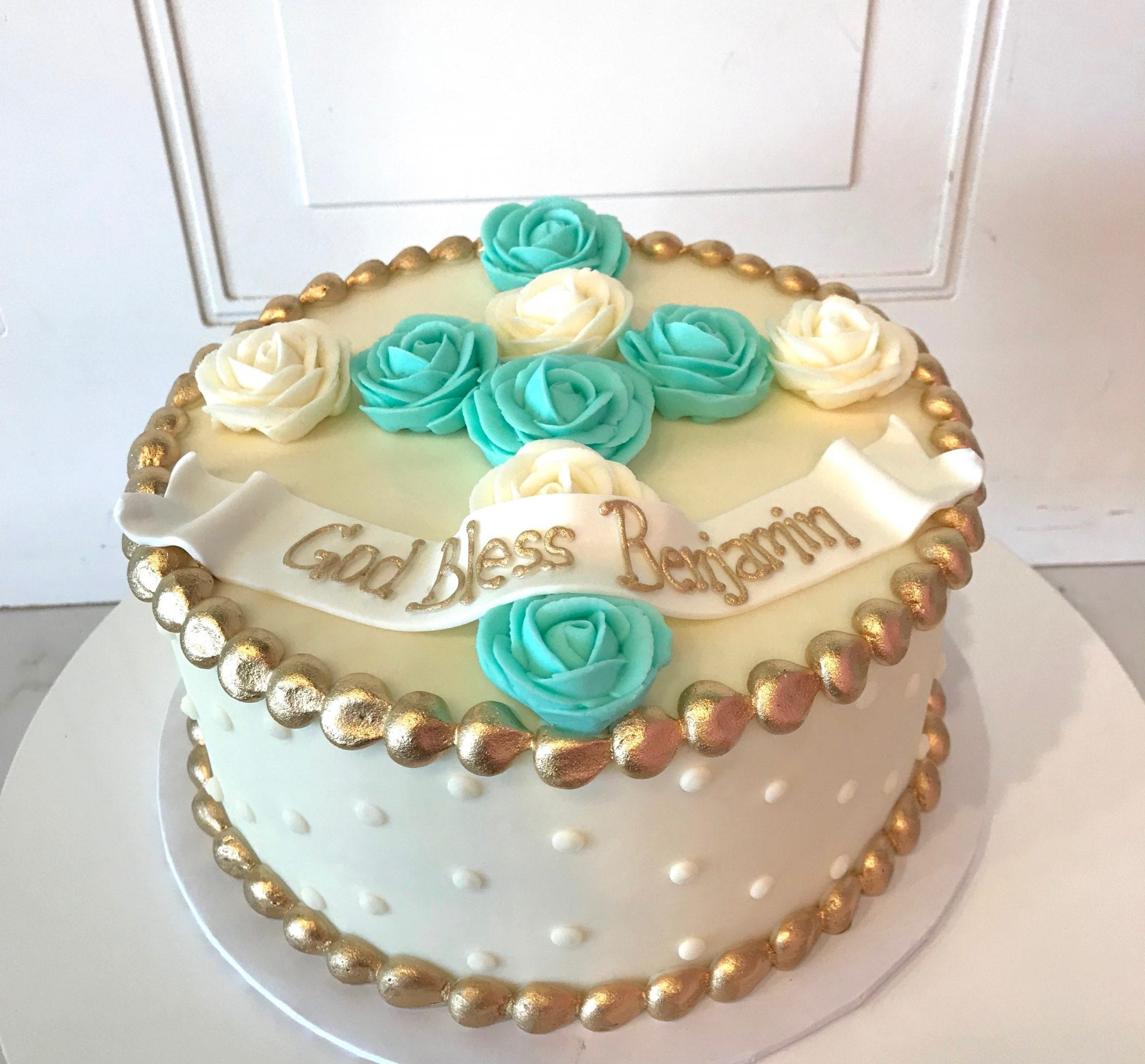 Aqua, Gold and White Baptism or First Communion Cake | 3 Sweet Girls Cakery