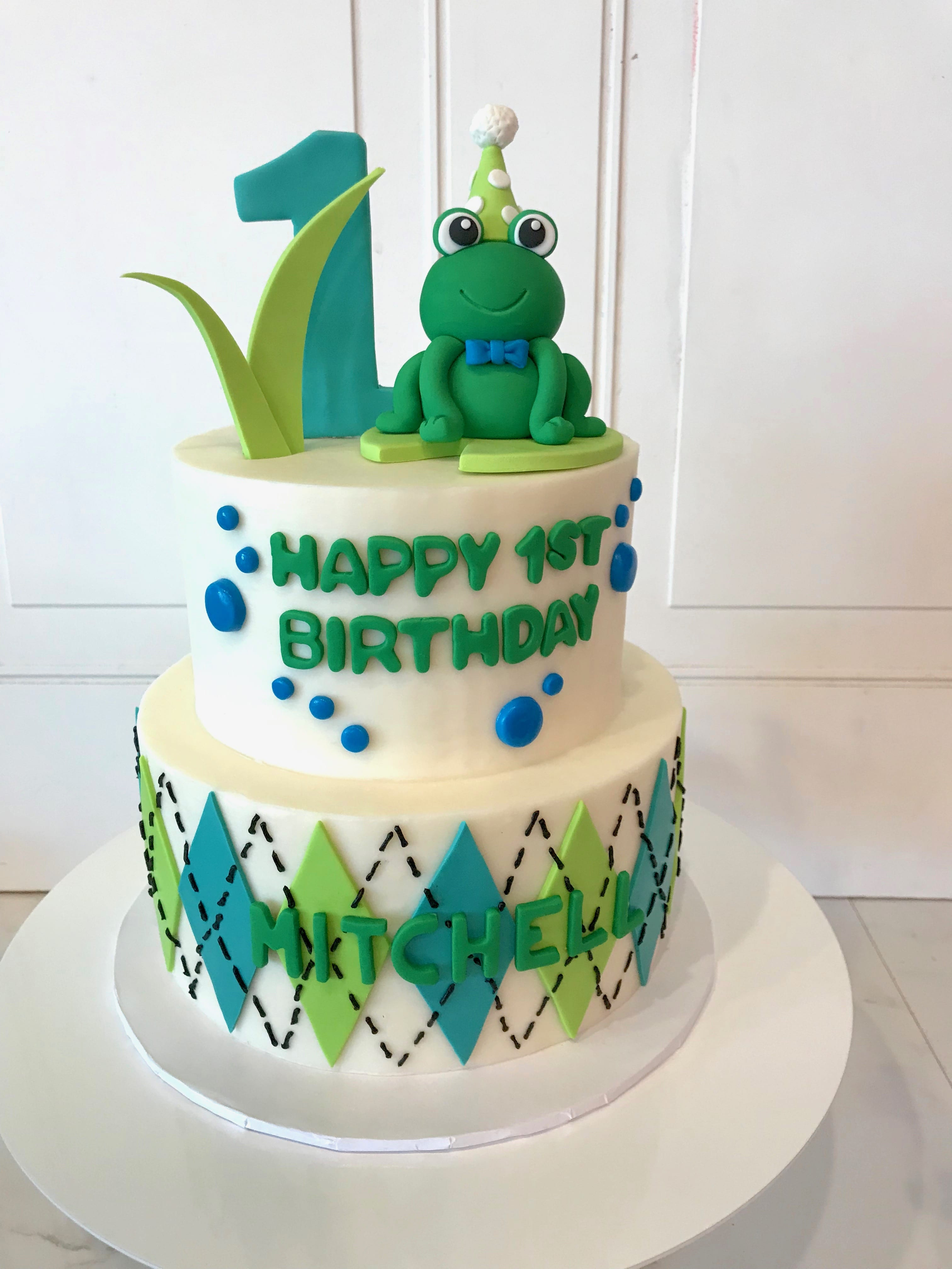 Froggy First Birthday 2 Tier Cake | 3 Sweet Girls Cakery
