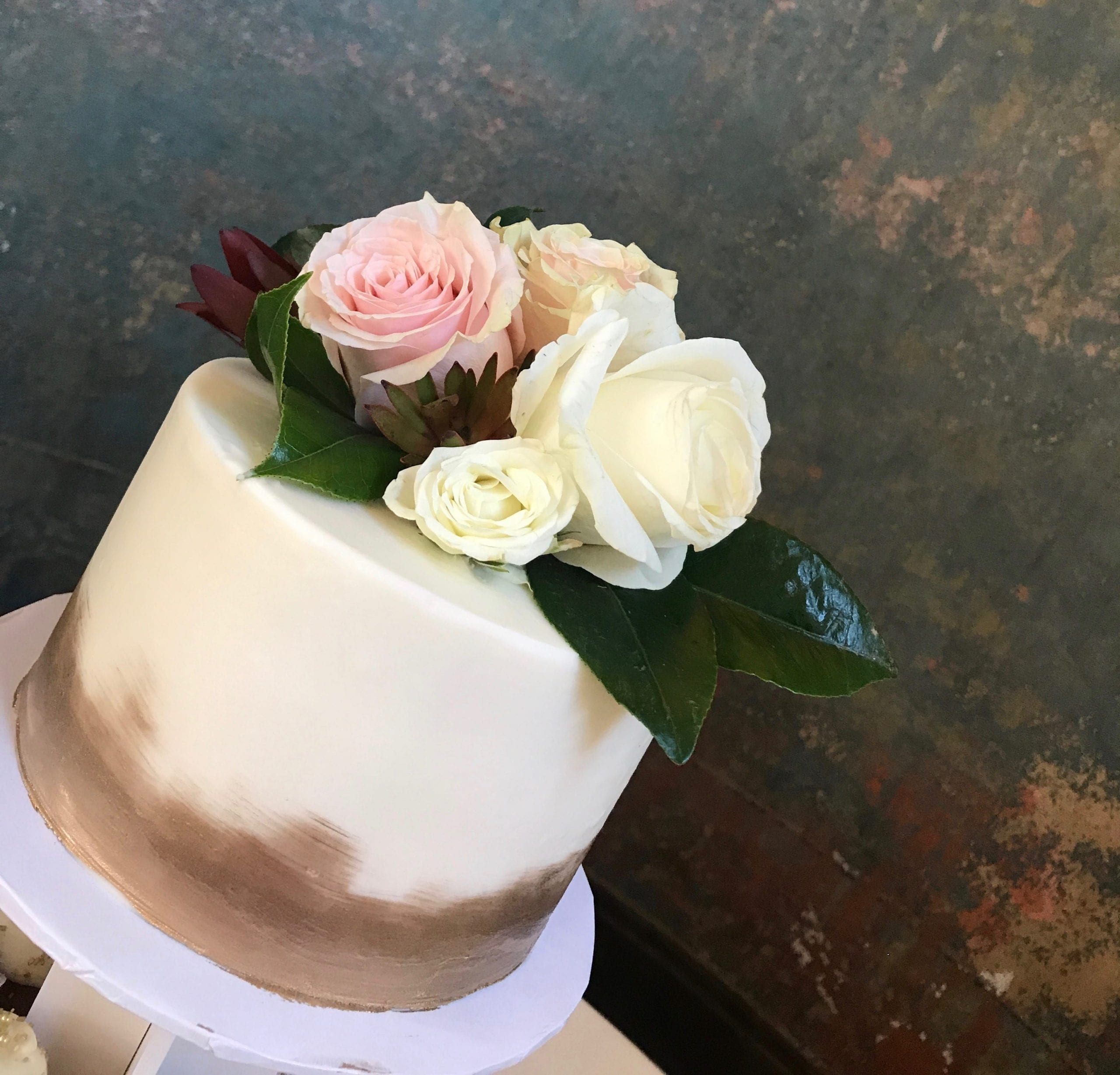 White Celebration Cake with Gold Accents and Fresh Roses | 3 Sweet Girls Cakery