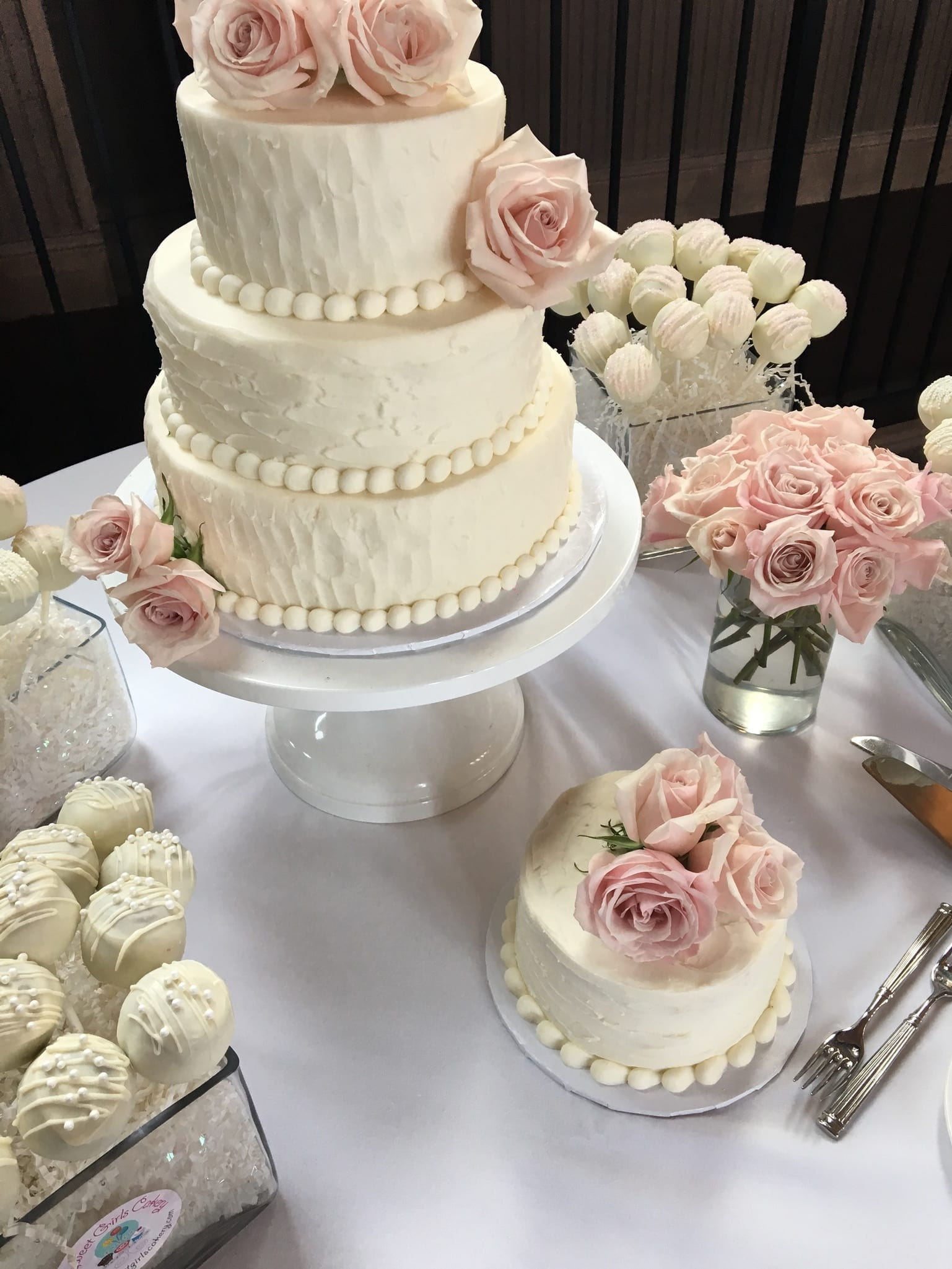 Textured Buttercream Wedding Cake and White Cake Pops at The Monastery | 3 Sweet Girls Cakery