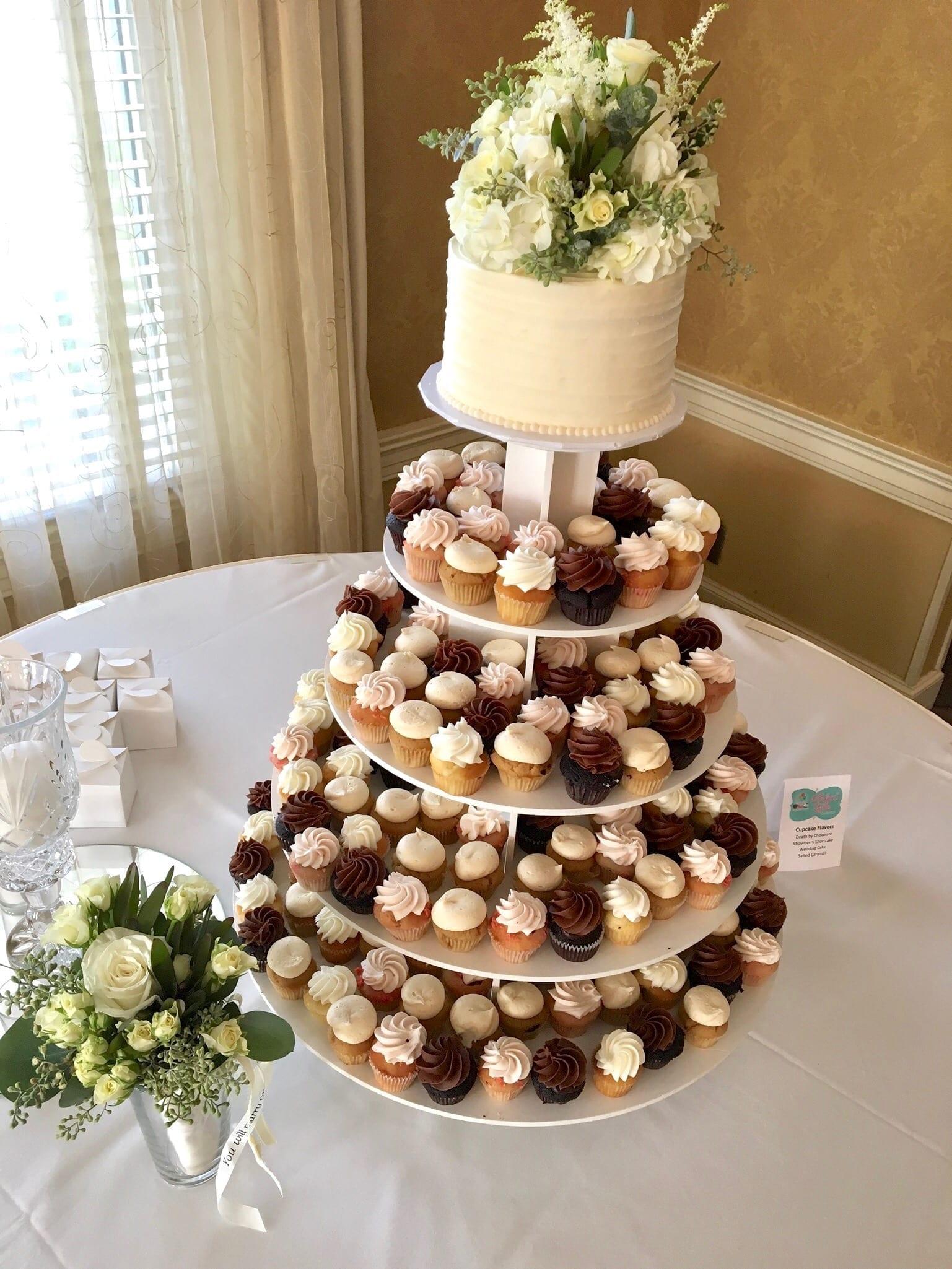 Mini Cupcake Wedding Dessert Display with Rustic Cutting Cake | 3 Sweet Girls Cakery