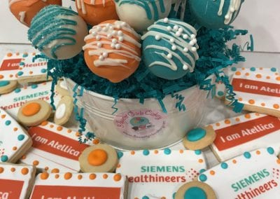 Siemens Logo Cookies and Cake Pops | 3 Sweet Girls Cakery