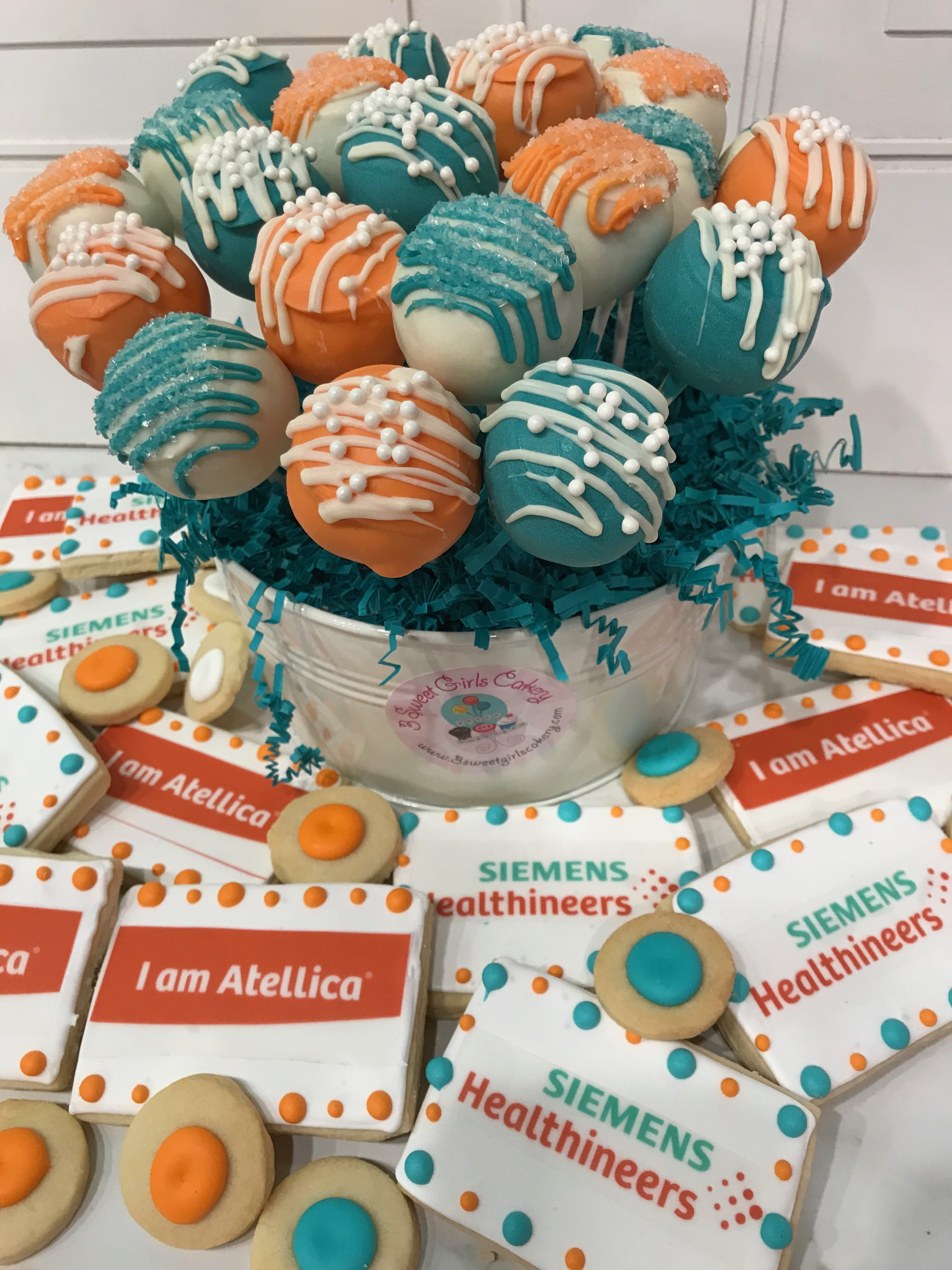 Siemens Logo Cookies and Cake Pops | 3 Sweet Girls Cakery