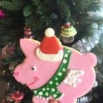 Flying Pig Cookie with Santa Hat